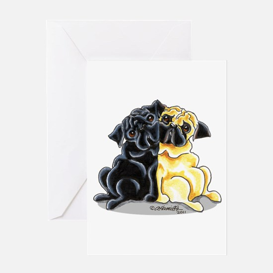 Black Fawn Pug Greeting Card