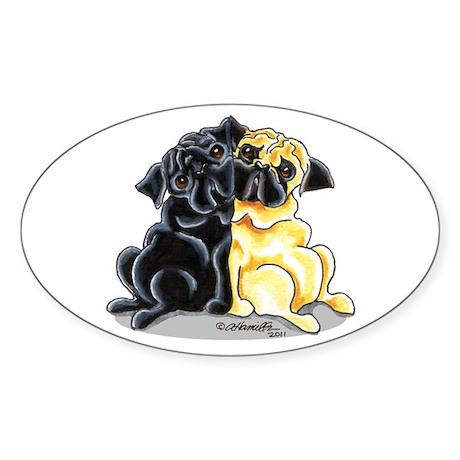 Black Fawn Pug Sticker (Oval)