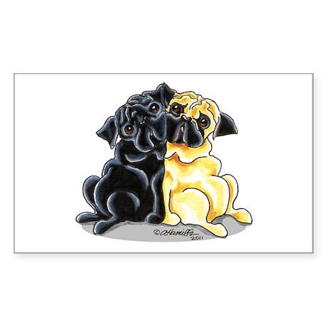 Black Fawn Pug Sticker (Rectangle)
