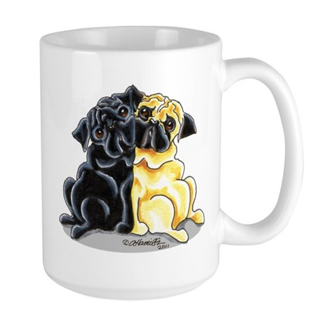 Black Fawn Pug Large Mug