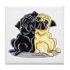 Black Fawn Pug Tile Coaster