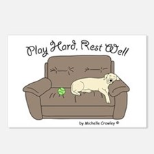 Yellow Lab - Play Hard Postcards (Package of 8)