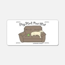 Yellow Lab - Play Hard Aluminum License Plate