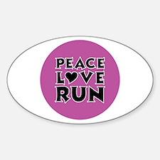 Peace Love Run Sticker (Oval)
