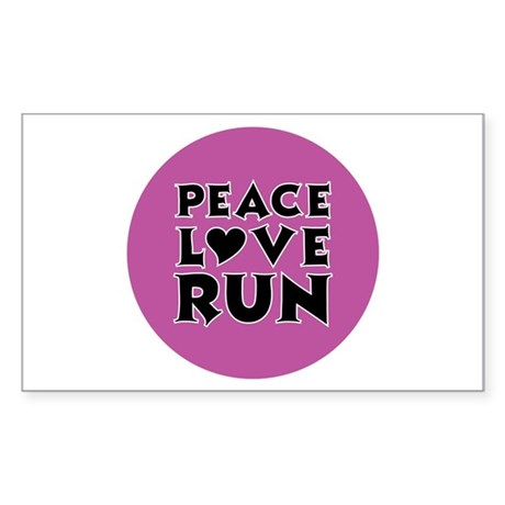 Peace Love Run Sticker (Rectangle)