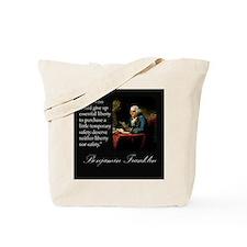 Ben Franklin Quote Portrait Tote Bag