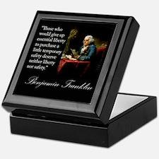 Ben Franklin Quote Portrait Keepsake Box