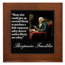 Ben Franklin Quote Portrait Framed Tile