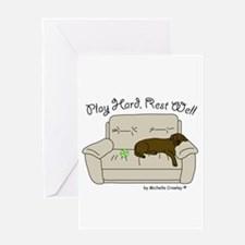 Chocolate Lab - Play Hard Greeting Card