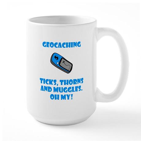 Geocaching Ticks Thorns Muggl Large Mug