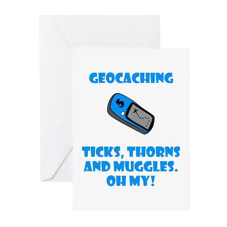 Geocaching Ticks Thorns Muggl Greeting Cards (Pk o