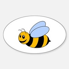 Cartoon Bee Sticker (Oval)