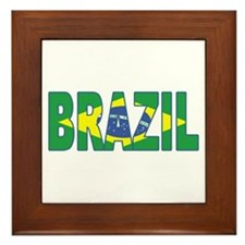 Brazil Soccer Flag  Framed Tile