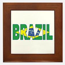Brazil Soccer Flag  Framed Tile