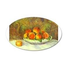 Still Life with Peaches 22x14 Oval Wall Peel