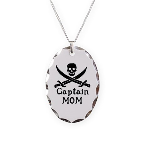Captain Mom Necklace Oval Charm