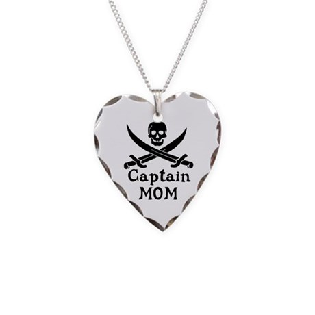 Captain Mom Necklace Heart Charm