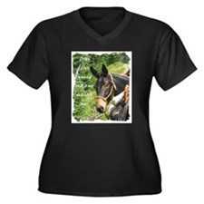 Mule Women's Plus Size V-Neck Dark T-Shirt