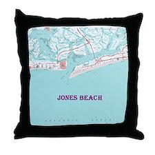 Jones Beach New York Map Throw Pillow