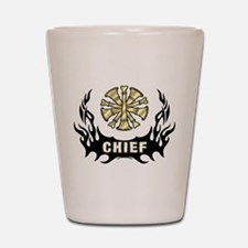 Fire Chief Tattoo Flames Shot Glass