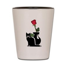Black Cat and Rose Shot Glass