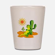 Cactus in the Desert Iguana Shot Glass