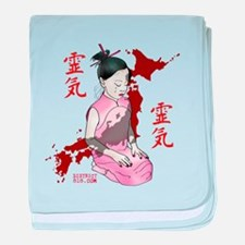 JAPANESE RELIEF GIRL - IN PINK baby blanket