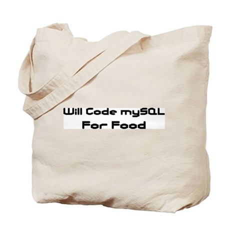 Will Code mySQL For Food Tote Bag