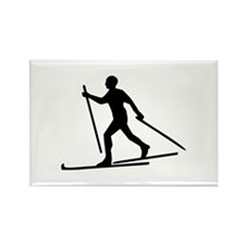 Cross Country Skiing Rectangle Magnet
