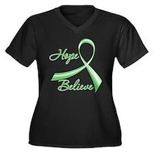 TBI Hope Believe Ribbon Women's Plus Size V-Neck D