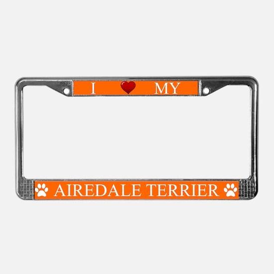 Orange I Love My Airedale Terrier Frame
