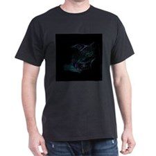 Abstract art in purple and teal - Black T-Shirt