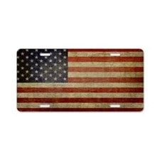 Distressed Flag v2 Aluminum License Plate