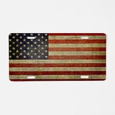 Distressed Flag v2 Aluminum License Plate