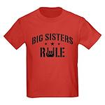 Big Sisters Rule Kids Dark T-Shirt