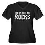 My Big Brother Rocks Women's Plus Size V-Neck Dark