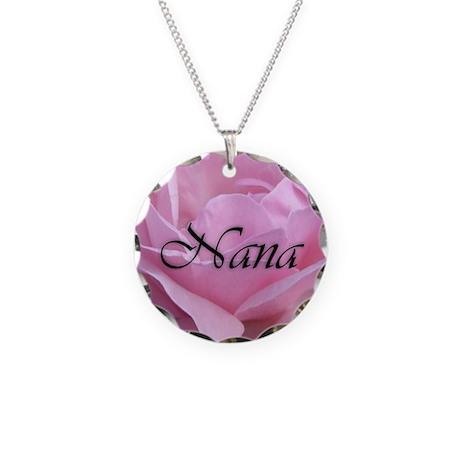 Nana Pink Rose Necklace Circle Charm