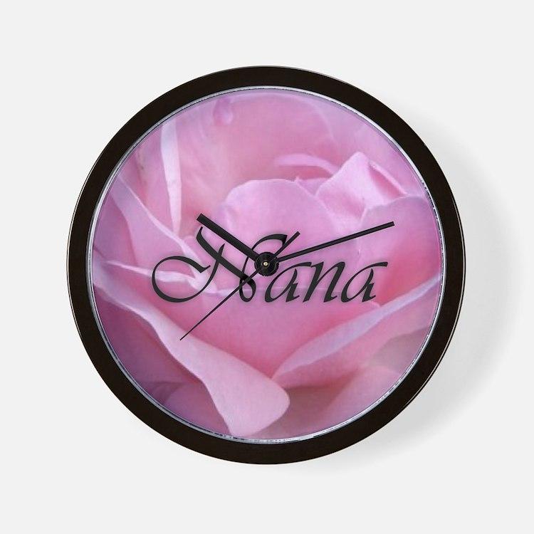 Nana Pink Rose Wall Clock