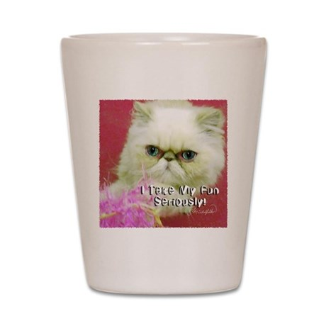 White Persian and Pink Shot Glass
