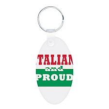 Proud Italian Aluminum Oval Keychain