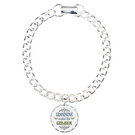 Grandson Sentiments Charm Bracelet, One Charm