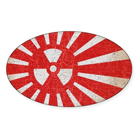 Rising Sun Burn Sticker (Oval)