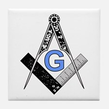Masonic Square and Compass Tile Coaster