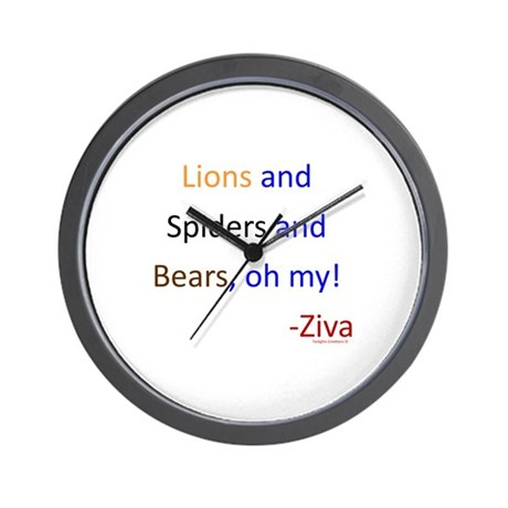 Lions, Spiders, Bears Wall Clock