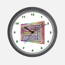 ABSTRACT WOVEN-TILE LOOK RAINBOW PRIDE Wall Clock