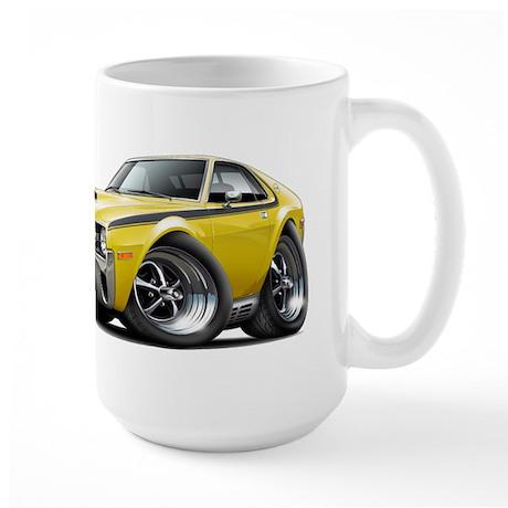 1970 AMX Yellow-Black Car Large Mug