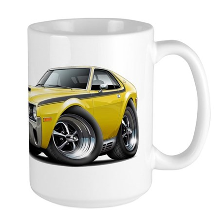 1970 AMX Yellow-Black Car Large Mug