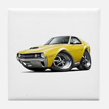 1970 AMX Yellow Car Tile Coaster