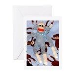 Baby Blue Sock Monkey Greeting Card