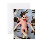 Pink Sock Monkey Greeting Cards (Pk of 10)